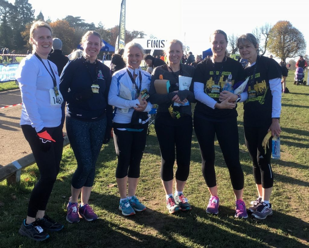 Jog On half marathon course finishers after their race